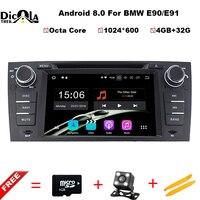 Octa Núcleo Car DVD Player Pure Android 8.0 Para BMW E90 E91 E92 E93 série 3 GPS Multimídia DVB Rádio TV BT WIFI Câmera de Visão Traseira