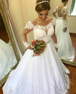 Image 2 - חתונת שמלת 2019 תחרה קו ארוך שרוולים לראות דרך חזרה כלה שמלת Casamento Robe דה Mariee