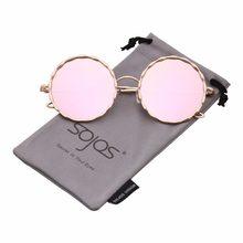 3c4d23d16fa01 SOJOS 2018 Rodada Óculos Escuros de Grife Marca para As Mulheres do Metal  do Ouro Quadro