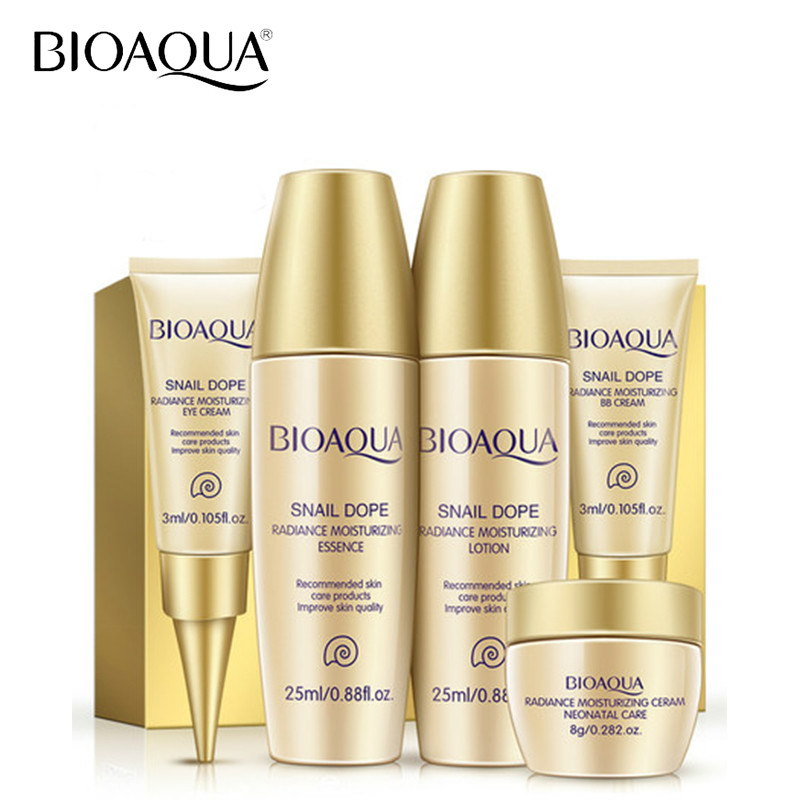 BIOAQUA 5pcs/set Snail Essence Moisturizing Whitening Skin Care Travel Pack Face Cream Eye Cream Nude Makeup BB Concealer