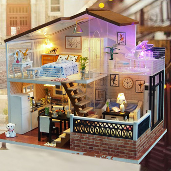 Diy Doll House Wooden Crafts Miniature Dollhouse Furniture Kit Toy For Boy & Girl Educational Craft