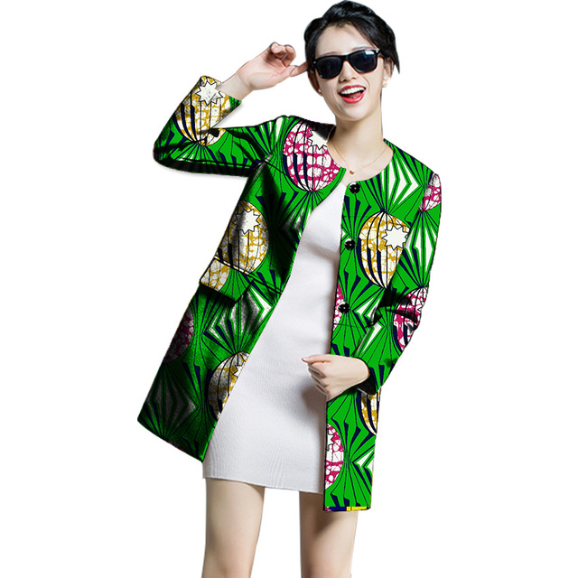 8ad432c61ac8d Fashion African Print Women Trench Coats Women Outerwear Ankara Africa  Festive Long Sleeve New Design Trench Coats Cutomized