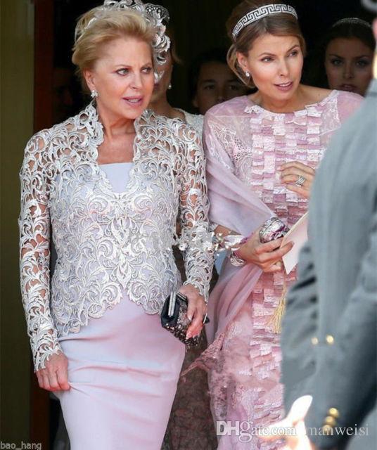 Vintage mère de la mariée robes avec dentelle veste 2019 pas cher mamans robes grande taille sirène femme robes de soirée boléro - 4