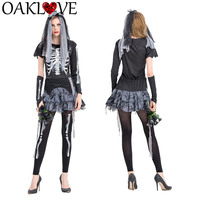 New Halloween Skeleton Ghost Zombie Bride Costume Clothes Night Show DS Costumes Masquerade Carnival Role Playing Vampire Dress