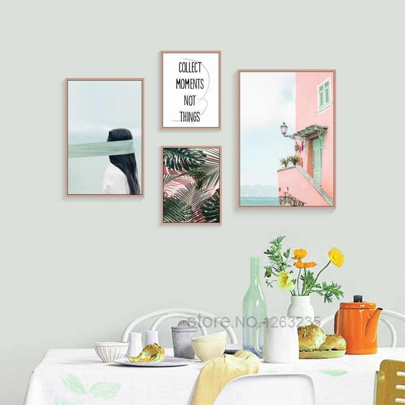 étanche Quadro Rose Vue Sur La Mer Décoration Chambre Nordique Affiche Feuille Verte Cocotier Mur Art Toile Peinture Mur Sans Cadre