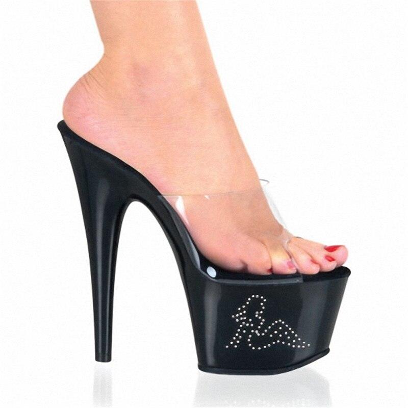 15cm Super High Heels Woman Pumps Fully Transparent Platform Slippers 34-46 Super Big Size Women Dance Shoes15cm Super High Heels Woman Pumps Fully Transparent Platform Slippers 34-46 Super Big Size Women Dance Shoes