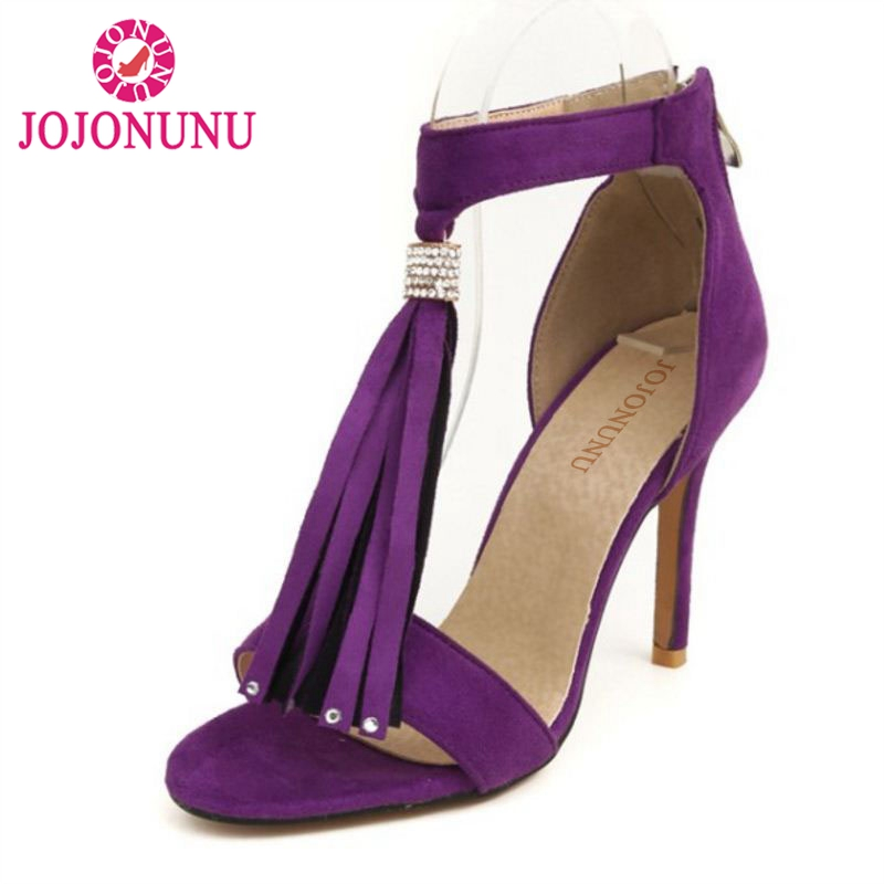 JOJONUNU Size 32 46 Mature Women Tassel High Heel Sandals Women Open Toe Thin Heel Sandals Summer Party Shoes Women Sandals