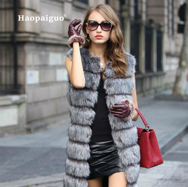 Autumn 3XL Plus Size Faux Fur Coat Winter Women Casual Sleeveless Long Faux Fox Fur Vest Winter Jacket Women Casaco Feminino