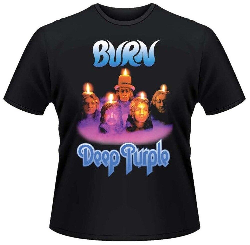 High Quality Custom Printed Tops Hipster Tees T Shirt Short Deep Purple Burn T-Shirt Men Printing O-Neck Shirt
