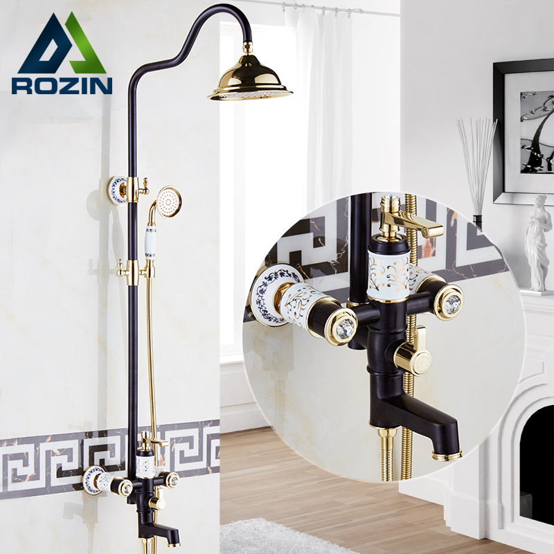 Newly Single Lever Rain Shower Column Set Wall Mount 4-function Mixer Valve /Handshower /tub spout bidet sprayer Shower Faucet