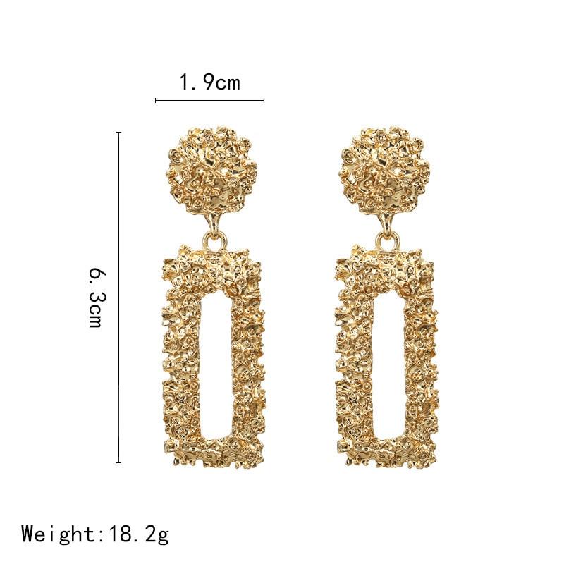 Big Vintage Earrings for Women Gold Silver Geometric Statement Earrings 19 Metal Earring Hanging Fashion Jewelry 2