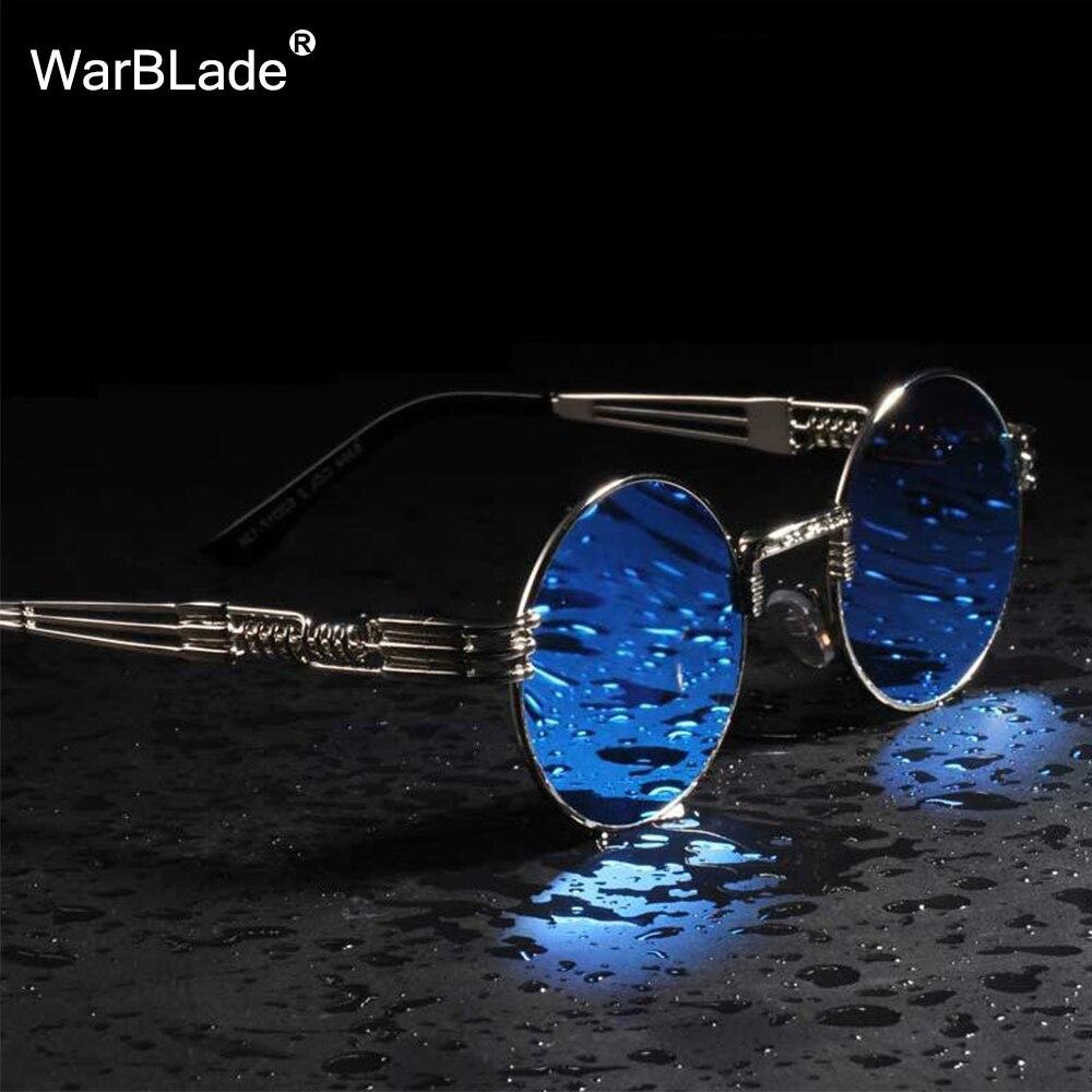 WarBLade redondo Vintage Steampunk gafas de sol de las mujeres de los hombres de Punk de vapor oro gafas Hip Hop tonos Teashades transparente gafas