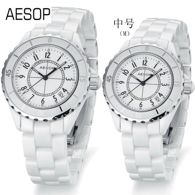 AESOP Fashion Couple Watch Ceramic Strap Sapphire Quartz  Watches luminous pointer indaid diamond CZ. Dial pure white 9905