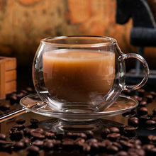 Fashion High Quality double wall glass coffee cup office cups with spoon and plate