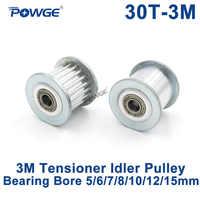 POWGE 30 Denti 3M Galoppino Tenditore Ruota Foro 5/6/7/8/10/ 12/15 millimetri con Cuscinetto di Guida 3M sincrono Gear HTD3M 30 denti 30 T