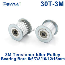 POWGE 30 Teeth 3M Idler Pulley Tensioner Wheel Bore 5/6/7/8/10/12/15mm with Bearing Guide 3M synchronous Gear HTD3M 30teeth 30T(China)