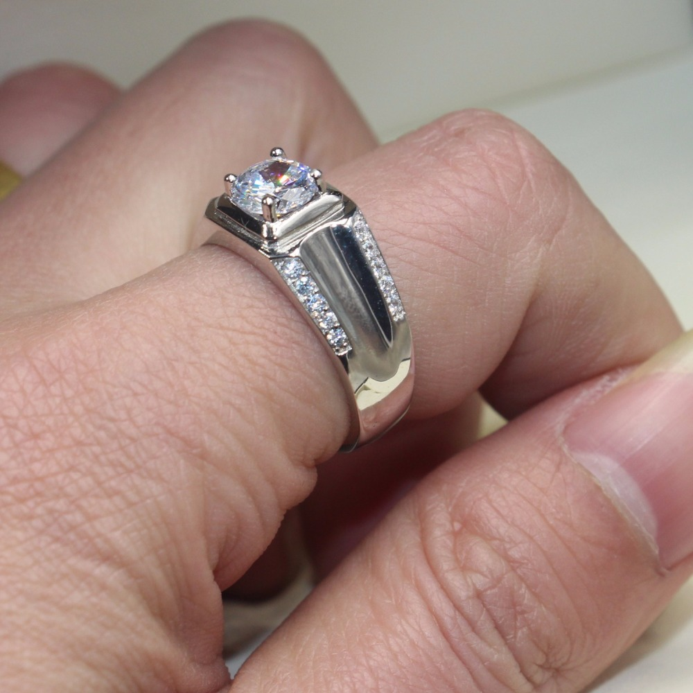 Vecalon Valentine\'s Day Fine Jewelry Men wedding Band ring 1.5ct ...