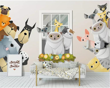 beibehang Custom large 3d wallpaper mural Cartoon 3D small animal children room decoration background wall behang