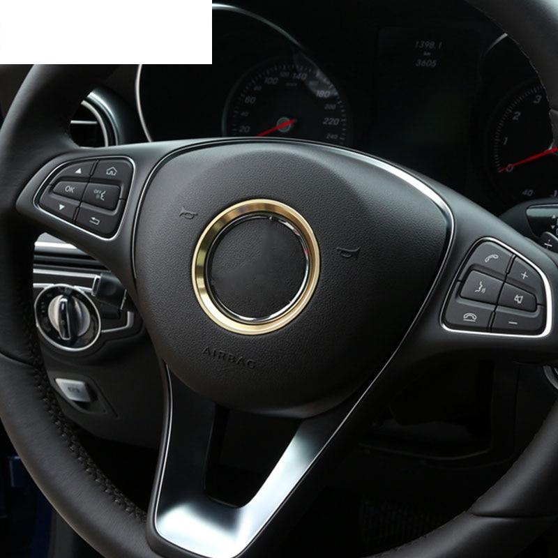 Alüminyum krom direksiyon halka Trim Mercedes Benz CLA GLE GLC A B C sınıfı W204 W246 W176 W117 C117 araba-styling