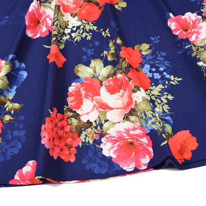 De Zipper Maison Femmes 2018 Robe Impression Azalée Mode New Manches D'été O Imprimer Mince Taille Régulier cou Vintage dnpqIgwW8x