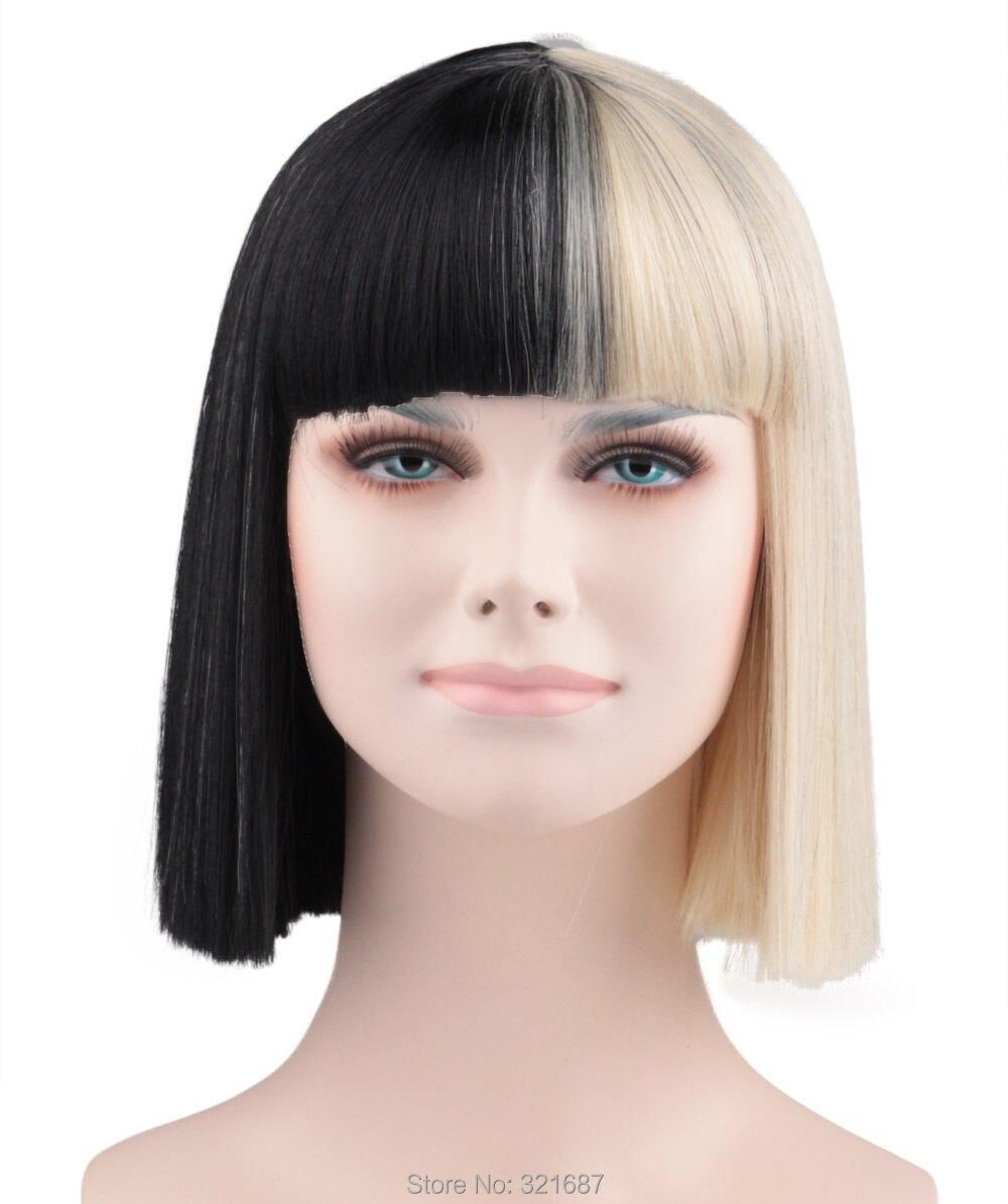 meio preto e loiro cabelo sintético peruca