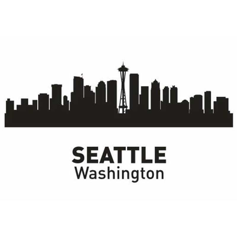 seattle city decal landmark skyline wall stickers sketch decals poster parede home decor stickerchina