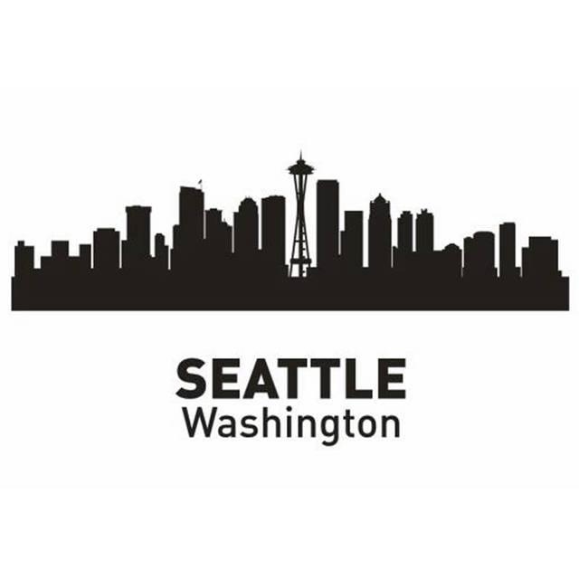 Wonderful SEATTLE City Decal Landmark Skyline Wall Stickers Sketch Decals  ZR34