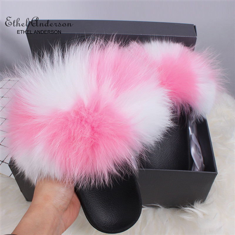 ETHEL ANDERSON Fur Slippers Women Real Fox Fur Slides Furry Flat Sandals Female Cute Fluffy Shoes