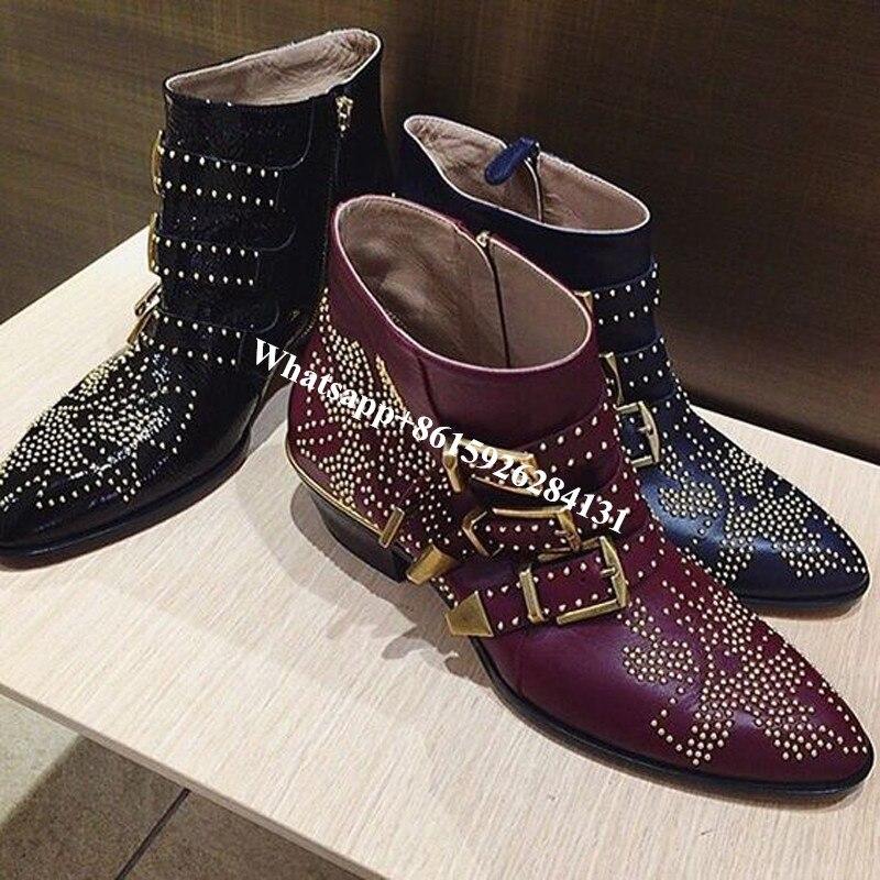 Choudory/новые модные стильные Черный шипованных Susanna ботинки Для женщин Роскошные острый носок квадратный каблук с пряжкой армейские носочки-...