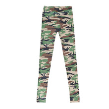 Women Graffiti Style Slim Camouflage Stretch Trouser Army Tights Pants