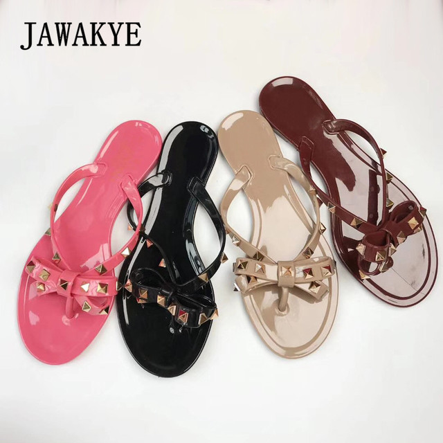 97503641b0957f JAWAKYE Women Rivets Bowknot Flat Slippers sandals Girls Flip Flops studded  Summer Shoes Cool Beach Slides Jelly Shoes woman