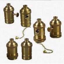 Медный медный держатель лампы электрический светильник; лампа; крышка; адаптер E27/E26 ручка застежки-молнии цепи переключатель лампы Люстра