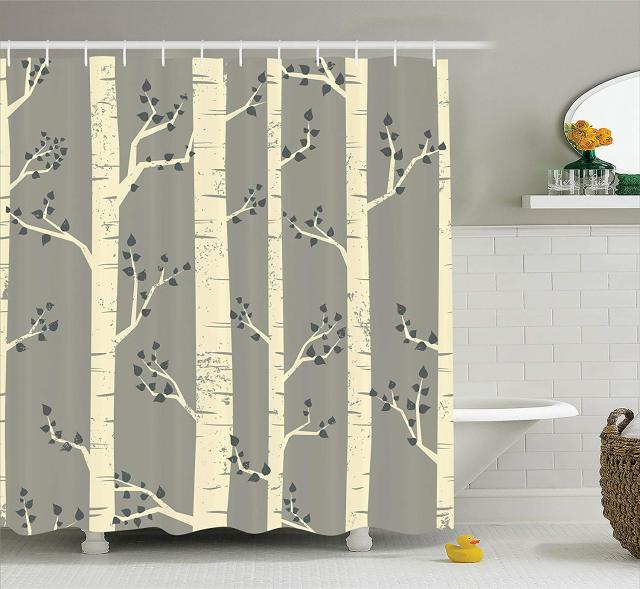 Grey Shower Curtain Birch Tree Branches Vintage Bohemian Contemporary Illustration Of Nature Fabric Bathroom Decor Set