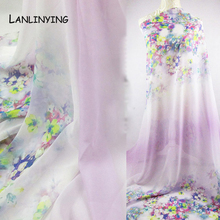 High Quality Floral Print Chiffon Gauze Elegant Dress Fabric Light Chiffon Sheer Cloth For Scarfs Material .D295