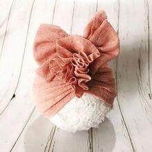 Однотонная кружевная Шапка-тюрбан, мягкие удобные повязки на голову для маленьких детей, повязка-тюрбан, аксессуары для волос в виде тюрбана H261D