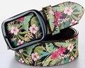 Digital Printing Genuine Leather Belt Fresh Floral Printed Vintage Belt Cowskin Leather Belt Straps Metal Pin Buckle Unisex