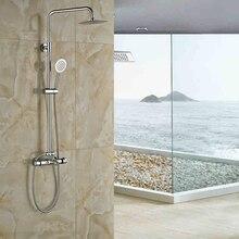 Роскошные Термостатический Смесительный Клапан 8 «Ультратонкий Дождь Насадка для душа Ванная Комната Ванна Смеситель Для Душа Установить Chrome Готовые