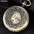 FOB мужчины карманные часы старинные механические часы BOAMIGO скелет роман количество часы медь дизайн подарок часы reloj hombre