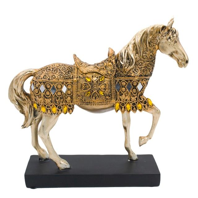 ERMAKOVA Modern Creative Resin Golden Walking Horse Figurine Statue Animal Sculpture Home Office Desktop Decoration Gift 3