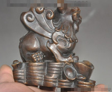 SCY S0649 chinese fengshui bronze wealth money coin ingot foo dog lion beast lucky statue(China)