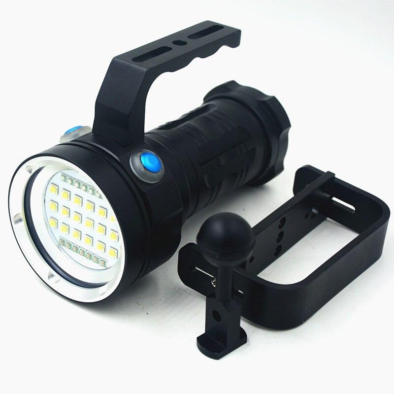Перезаряжаемые 25000LM Подводный Видео Дайвинг фонарик 18x XM-L2 светодио дный белый/красный/синий свет