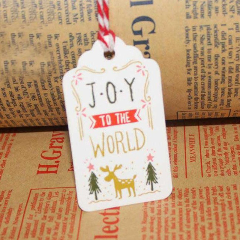 50 Pcs/set New Paper Tags With String DIY Craft Label Luggage Party Christmas Decoration Hanging For Home Joy to the world