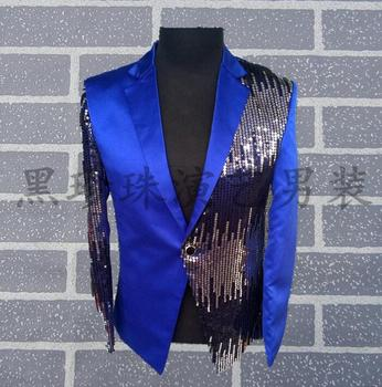 Navy blue paillette men suits designs masculino homme terno stage costumes for singers men sequin blazer dance jacket star style