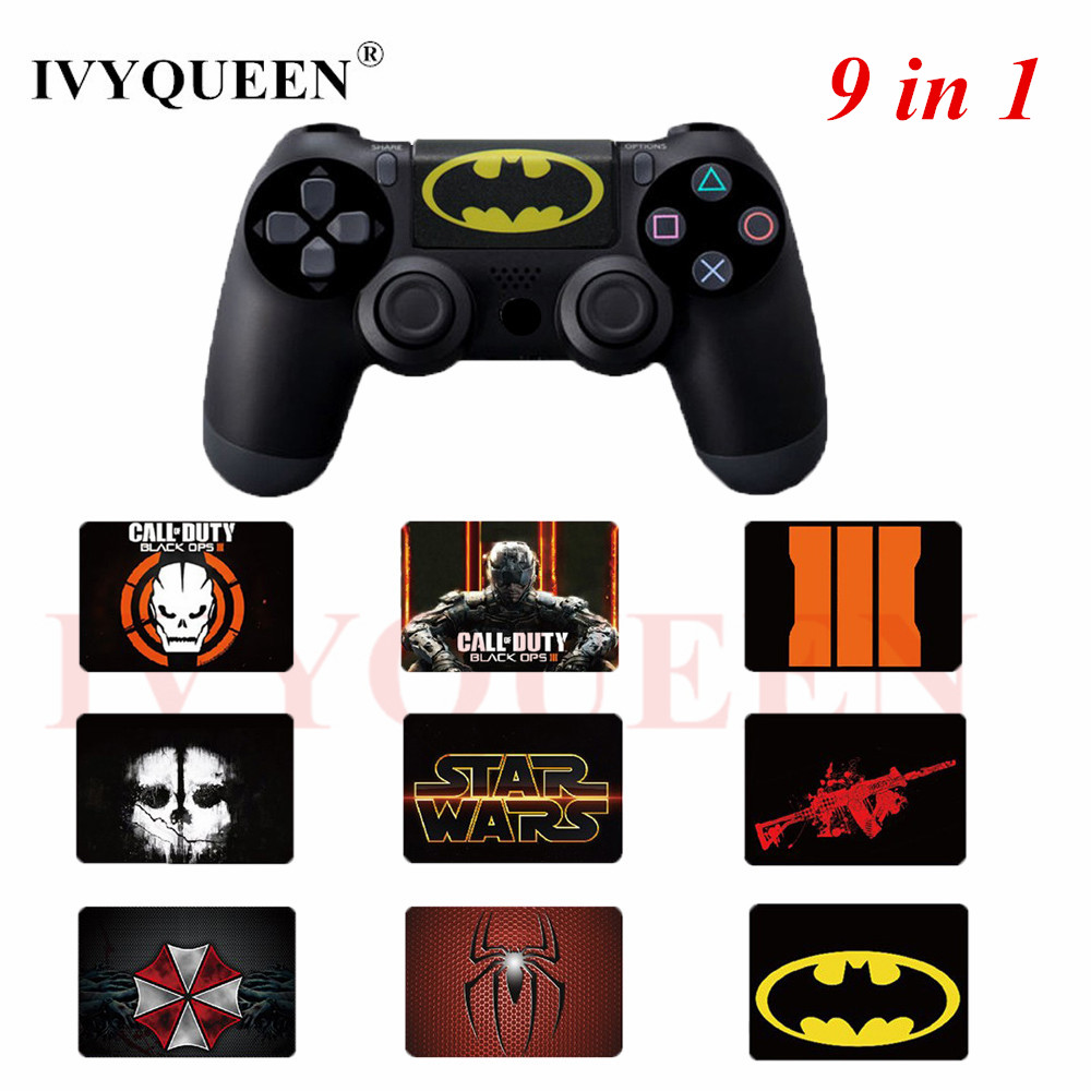 IVYUEEN 9 Pack For Dualshock4 Playstation 4 PS4 Slim / Pro Controller Touchpad Skin Decal Stickers Games Accessories