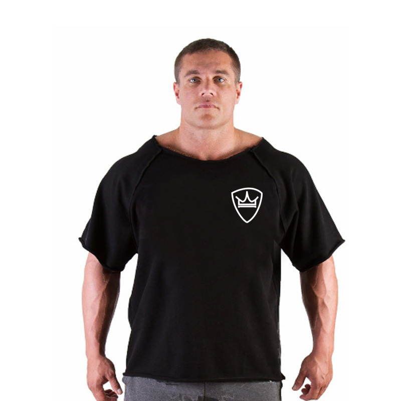 New fashion brand cotton t shirts tops men gyms Fitness shirt mens  weightlifting Bodybuilding workout gym vest fitness men tee 5