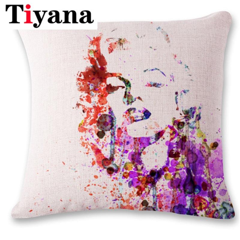 Marilyn Monroe Famous Person Home Decorative Flower Pillowcase 45*45cm Car Home Decor Cushion Case Cojines