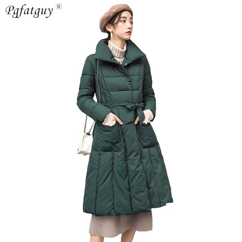 6480e6c23558 Nouveau Femme vert Doublure Rembourré 2018 Col Ceintures Hiver D hiver  Veste Femmes gris Épais Coton Stand Beige Parkas bourgogne noir Manteaux  SzgqSr