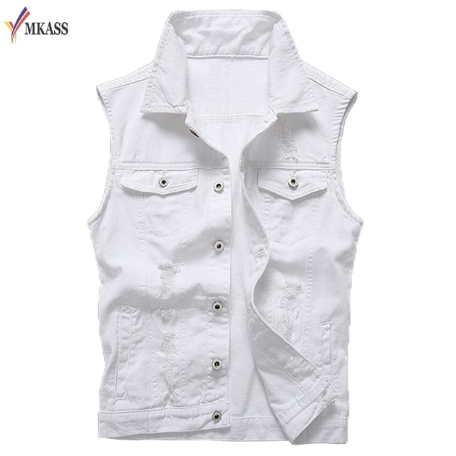 cad4a4ee7de 2018 Vintage Design Men s Denim Vest Male White Color Slim Fit Sleeveless  Jackets Men Hole Jeans Brand Waistcoat Plus Size 5XL