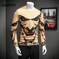 Fashion Fleece T Shirt 3D Cotton Halloween Printed Joker Clown Mens Clothing V Neck Slim Long Sleeve T Shirt Men Streetwear 3XL