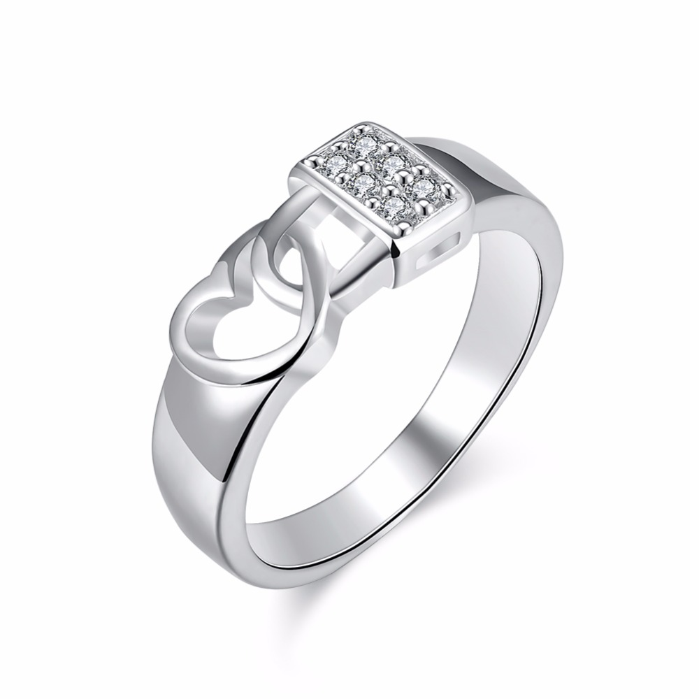 Zircon Ring Jewelry-Rings Party-Accessories Romantic Silver-Plated Heart Women Love Lock